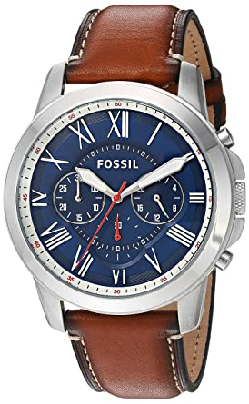982b5ee5b8f60 Fossil Men s Grant Quartz Stainless Steel and Leather Chronograph Watch