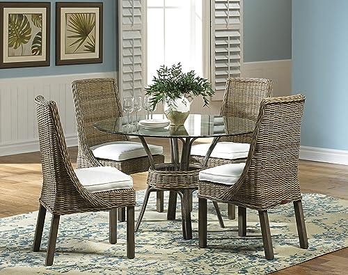 Panama Jack Sunrooms PJS-3001-KBU-SC Exuma Side Chair with Cushion, Sunbrella Linen Silver