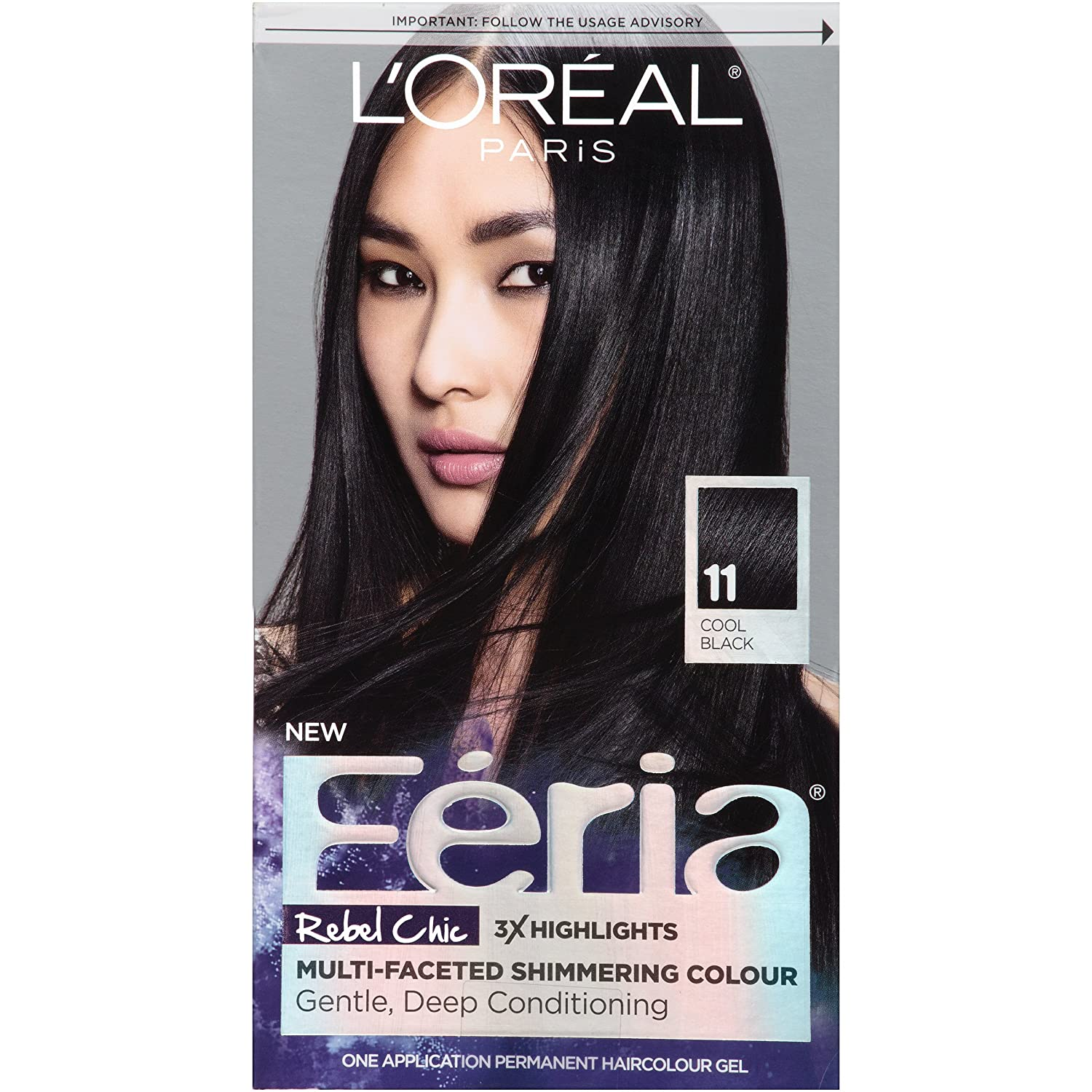 Loral Paris Feria Permanent Hair Color 11 Black Fixation Cool