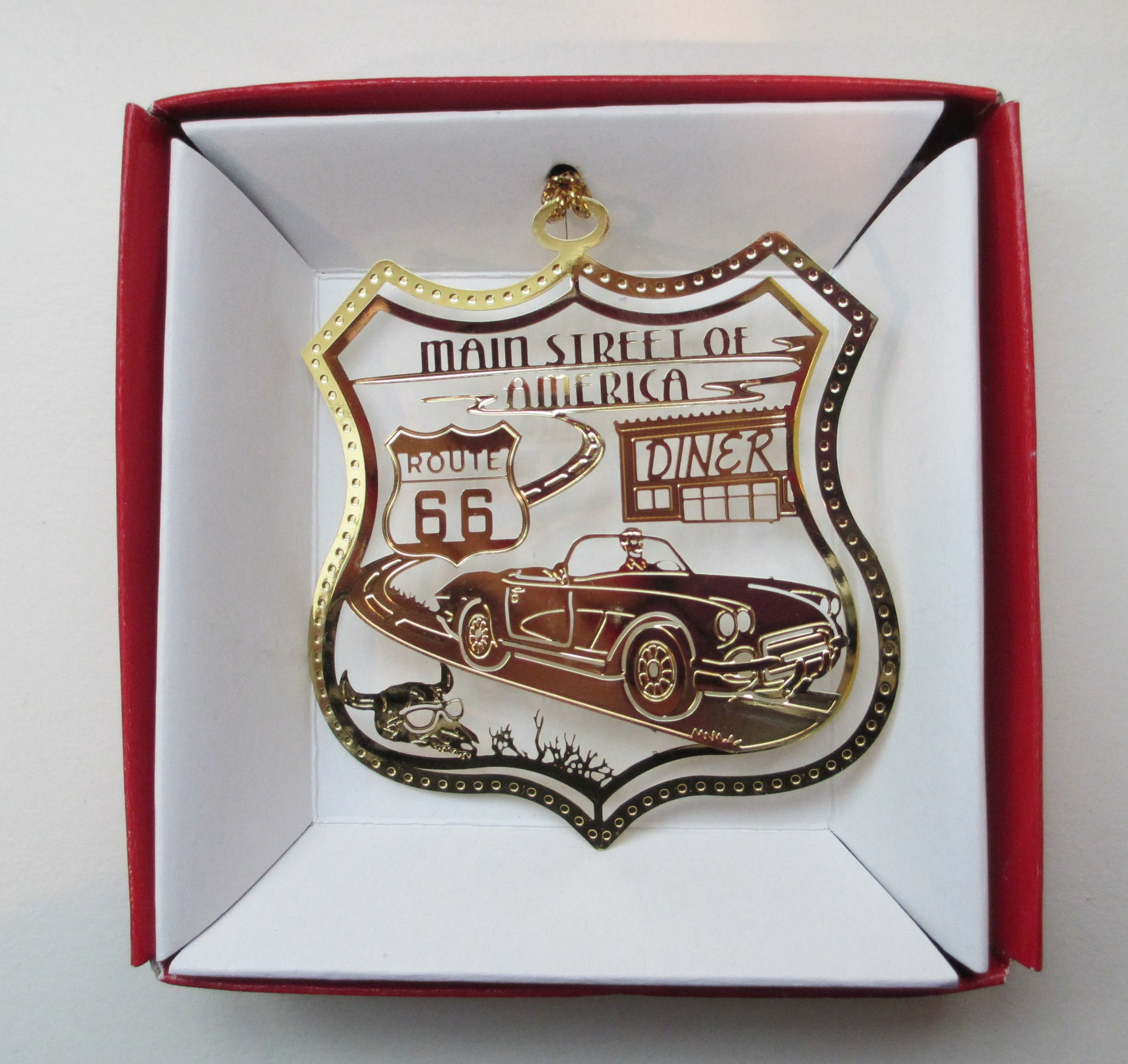 Route 66 Brass Christmas ORNAMENT Main Street of America