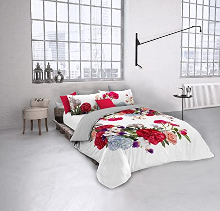 Italian Bed Linen 8058575007100 Double Duvet Cover With Full Coverage  Digital Print On Pillowcase And Sheets