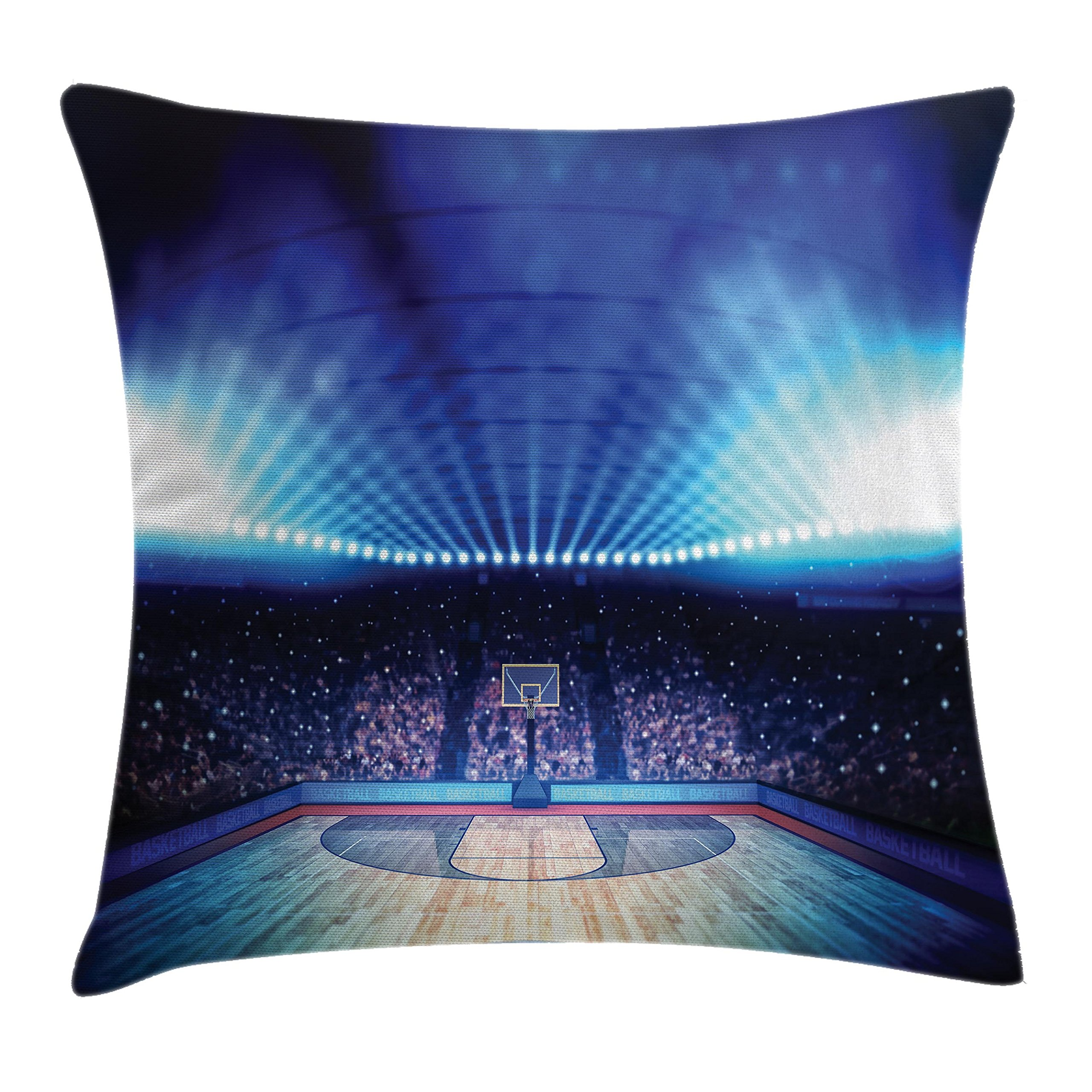 Ambesonne Sports Decor Throw Pillow Cushion Cover, Basketball Arena Court with Fans and Flashlights Competition Theme Game Print, Decorative Square Accent Pillow Case, 20 X 20 inches, Navy Black