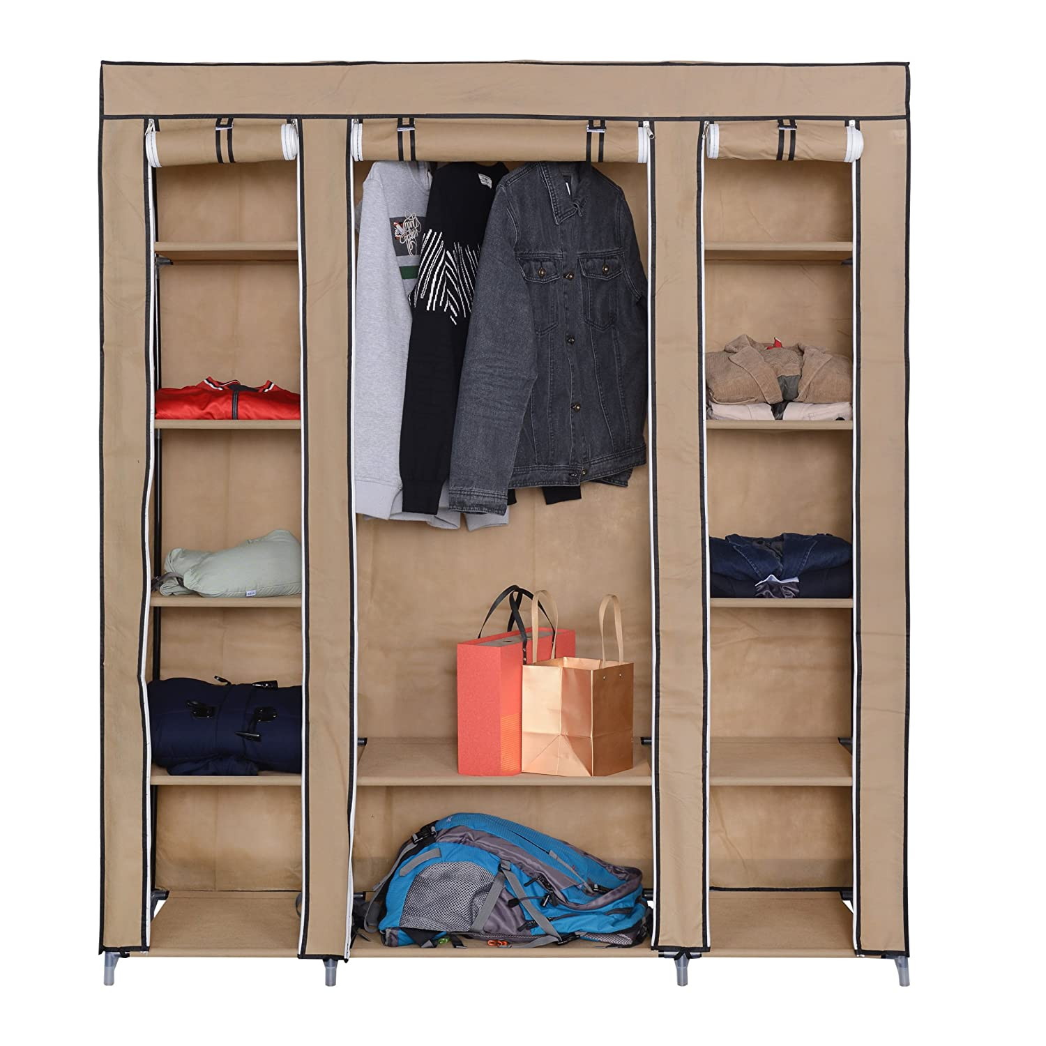 Mari Home - Roston Beige Triple Canvas Wardrobe, Metal Framed Bedroom Furniture Storage Organiser Foldable Lightweight Fabric Clothes Rack with 5 Coat Hangers