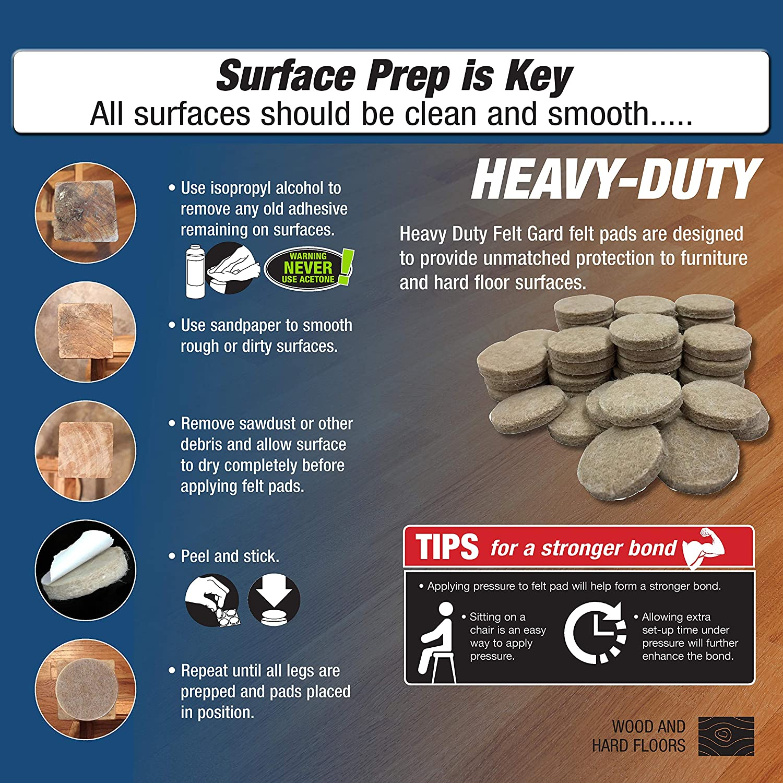 Shepherd Hardware 9915 1-Inch Heavy Duty Felt Gard Self-Adhesive Leveling Furniture Pads 8-Pack