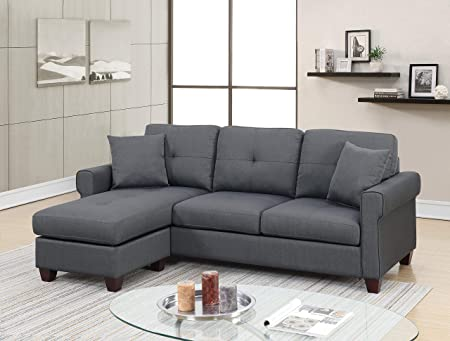 Amazon.com: Esofastore Modern Reversible Sectional Charcoal ...
