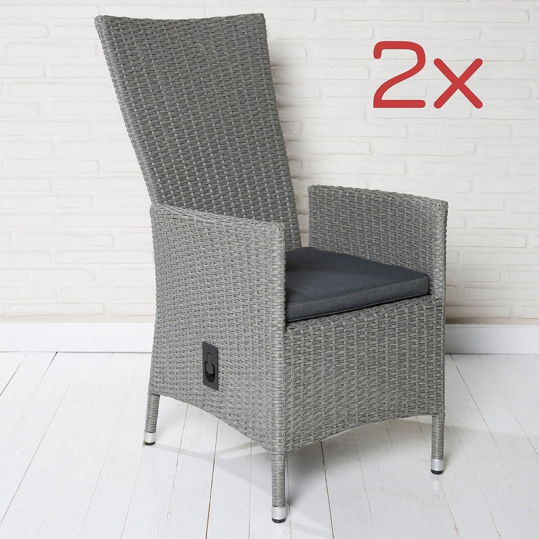 2er Set Polyrattan Gartenstühle Gartensessel Hellgrau Stuhl Stühle