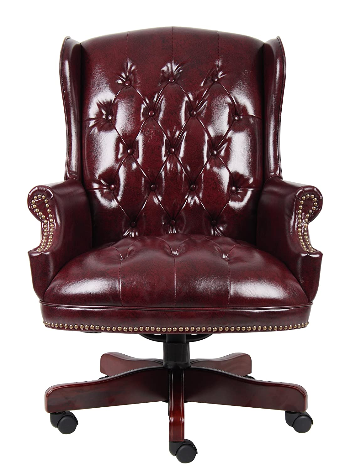 office leather chair. Amazon.com: Boss Office Products B800-BY Wingback Traditional Chair In Burgundy: Kitchen \u0026 Dining Leather