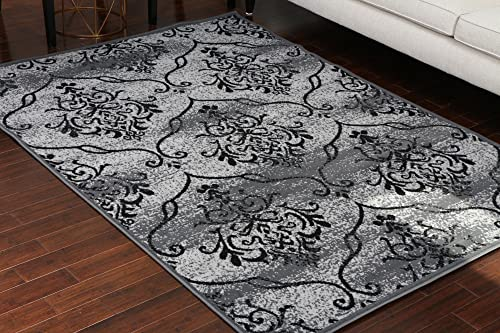 Generations 100 Olefin Contemporary Grey Silver White Modern Anitique Large Trellis Area Olefin Rug Rugs 8058Grey 13×16