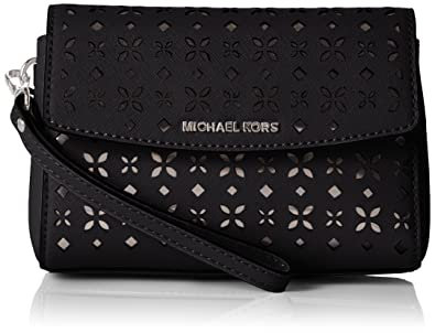 3cfac0e18fab Michael Kors Ava Medium Wristlet in Black/Nickel: Handbags: Amazon.com