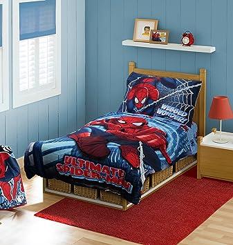Amazon Com Marvel Spiderman Toddler Bedding Set Red Discontinued