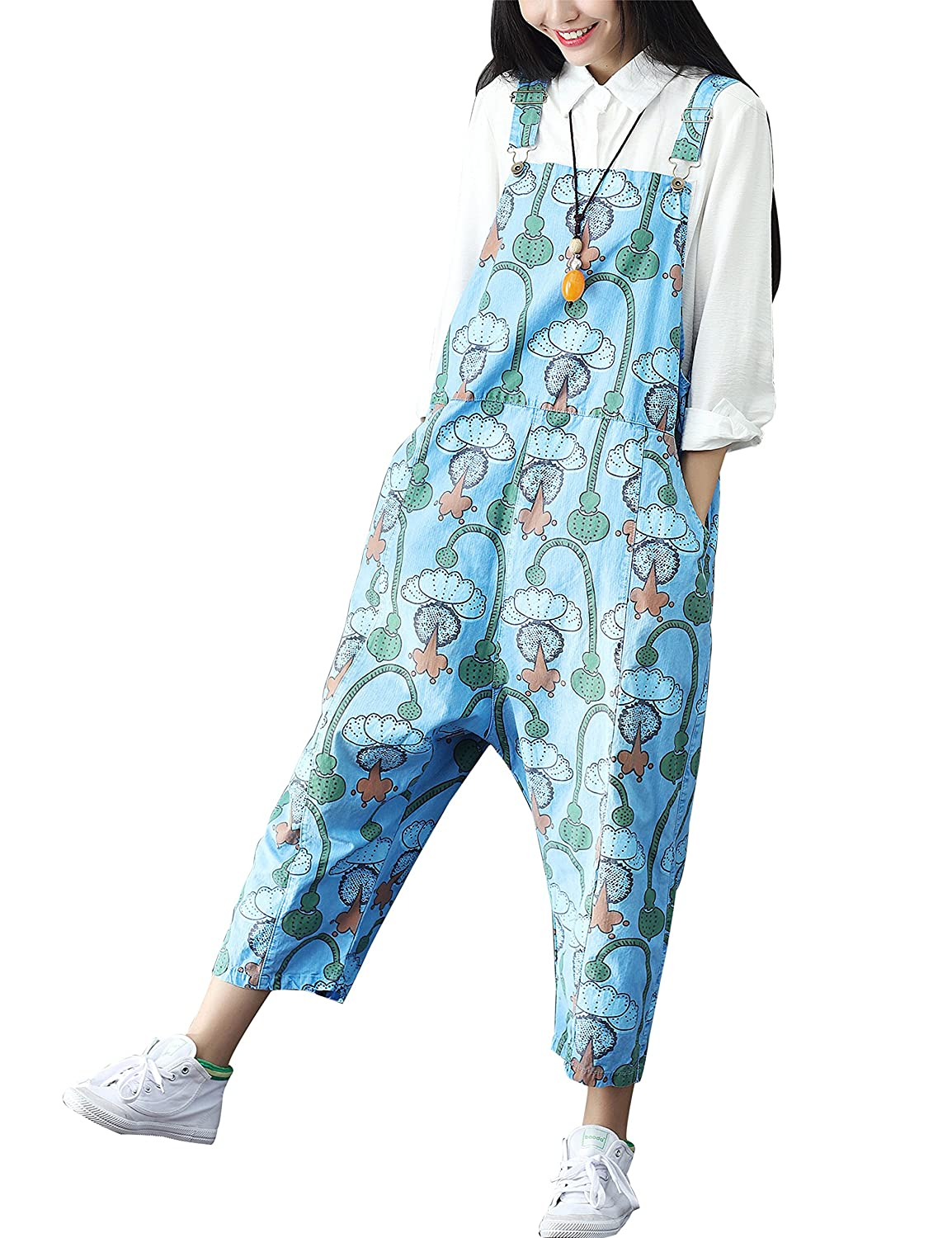 a2f7ac478e0 Yeokou Women s Loose Baggy Cotton Floral Jumpsuit Rompers Overalls Harem  Pants