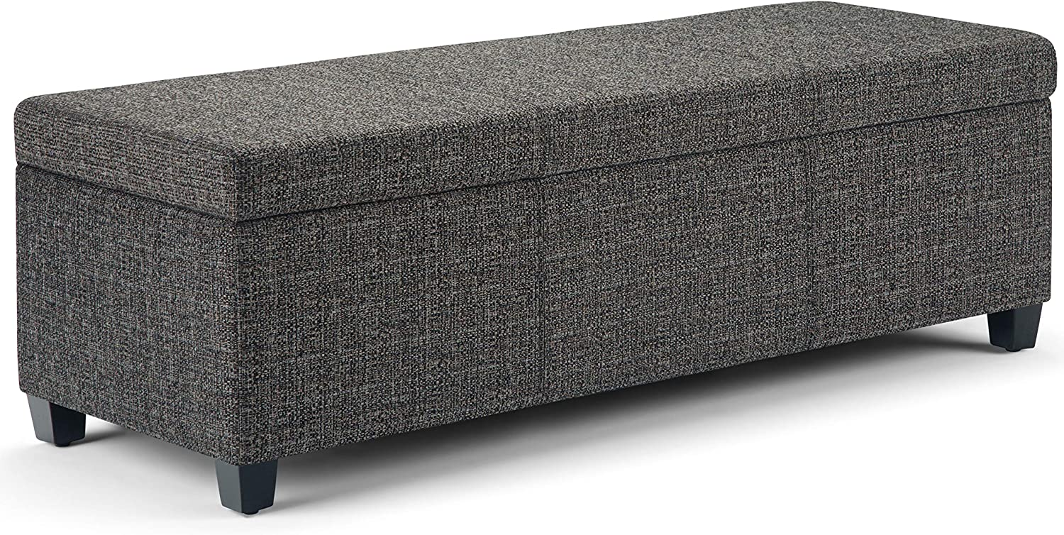 Simpli Home Avalon 48 inch Wide Rectangle Lift Top Storage Ottoman Bench in Upholstered Dark Grey Tweed Fabric with Large Storage Space for the Living Room, Entryway, Bedroom, Contemporary