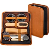 Shoe Shine Kit with PU Leather Sleek Elegant Case, 7-Piece Travel Shoe Shine Brush kit