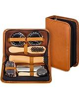 Shoe Shine Kit with PU Leather Sleek Elegant Case, 7-Piece Travel Shoe Shine Brush kit