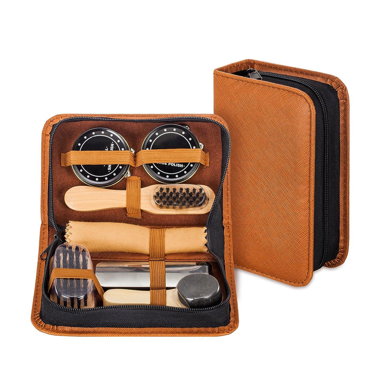 make it funwan Equipo para lustrar calzado con un elegante estuche en cuero polipiel. Equipo de viaje para lustrado de calzado de 7 piezas.