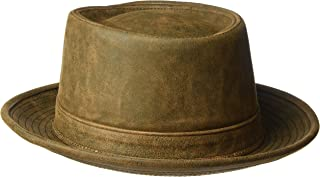 product image for Henschel Men's Smooth Garment Leather Porkpie Hat with Satin Lining