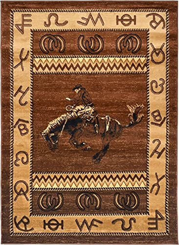 "Rugs 4 Less Collection Cowboy Horse Western Cabin Style Lodge Area Rug Design R4L 370 5'2""X7'3"""