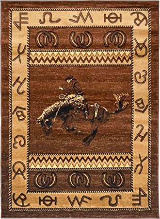 Amazon Com Rugs 4 Less Collection Cowboy Horse Western Cabin Style