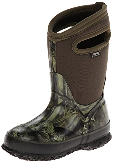 Bogs Kids Classic High Waterproof Insulated Rubber Neoprene Rain Boot, Camo  Mossy Oak/Green
