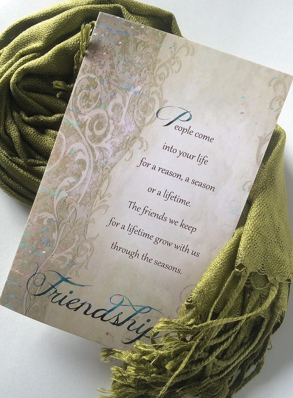 e5a4f2892e46 Amazon.com  Smiling Wisdom - Olive Earth Green Pashmina Scarf - Reason  Season Lifetime Friendship Greeting Card Gift Set - For Good Best Friend  BFF ...