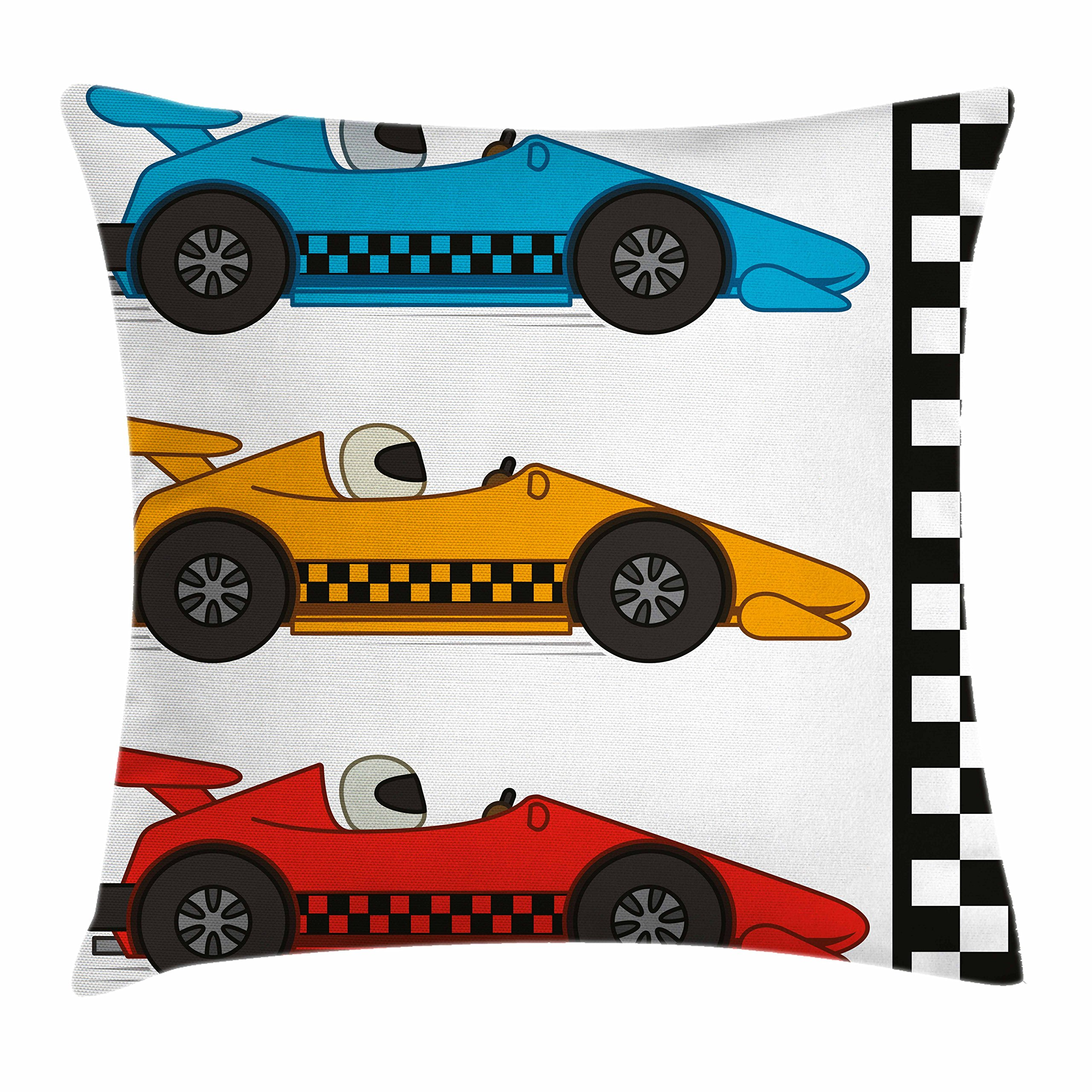 Lunarable Nursery Throw Pillow Cushion Cover, Race Cars at Start Line Adrenaline Exotic Sports Championship Theme, Decorative Square Accent Pillow Case, 16'' X 16'', Marigold Blue by Lunarable