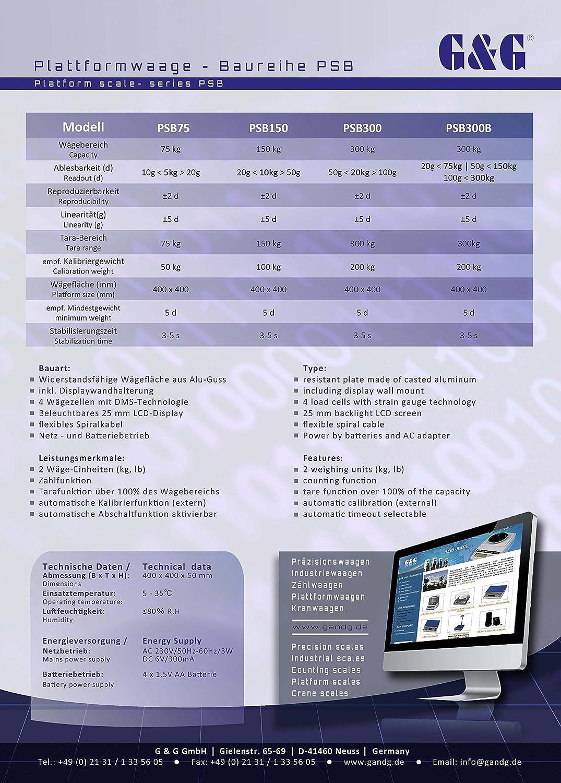 GundG Paketwaage PSB Balance pèse-colis numérique avec surface de pesage en fonte d'aluminium 40×40cm 150kgx50g//10kgx20g