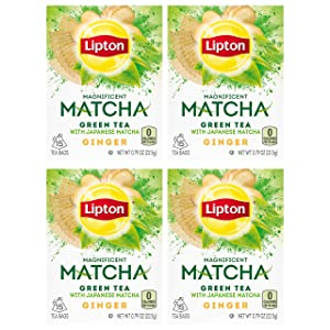 Lipton Magnificent Matcha Green Tea Bags, Ginger 15 ct ( Pack Of 4 )