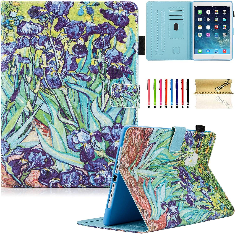 Dteck iPad 9.7 Inch 2017 2018 Case/iPad Air 2 Case/iPad Air Case - PU Leather Multi-Angle Folio Stand Smart Case with Auto Sleep/Wake Feature for Apple iPad 2017 2018 Model, iPad Air 1 2, Irises