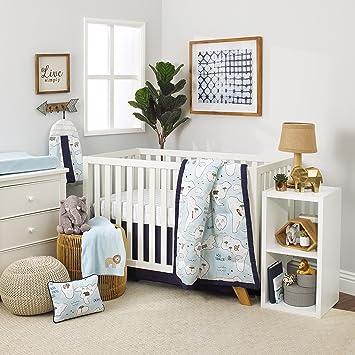 cdbc66b654933 NoJo Dreamer Little Explorer World Map 8 Piece Nursery Crib Bedding Set,  Navy Blue/Light Blue/White