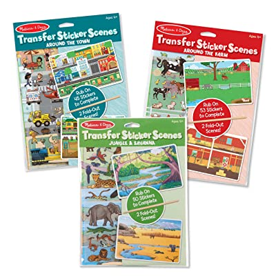Melissa & Doug Transfer Sticker Set Bundle-Around the Town, Around the Farm & Jungle Craft Activity Kits: Toys & Games