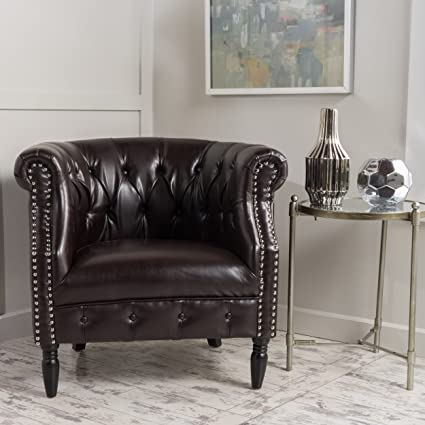 Sultan | Button Tufted Leather Club Chair With Studded Accents | In Brown