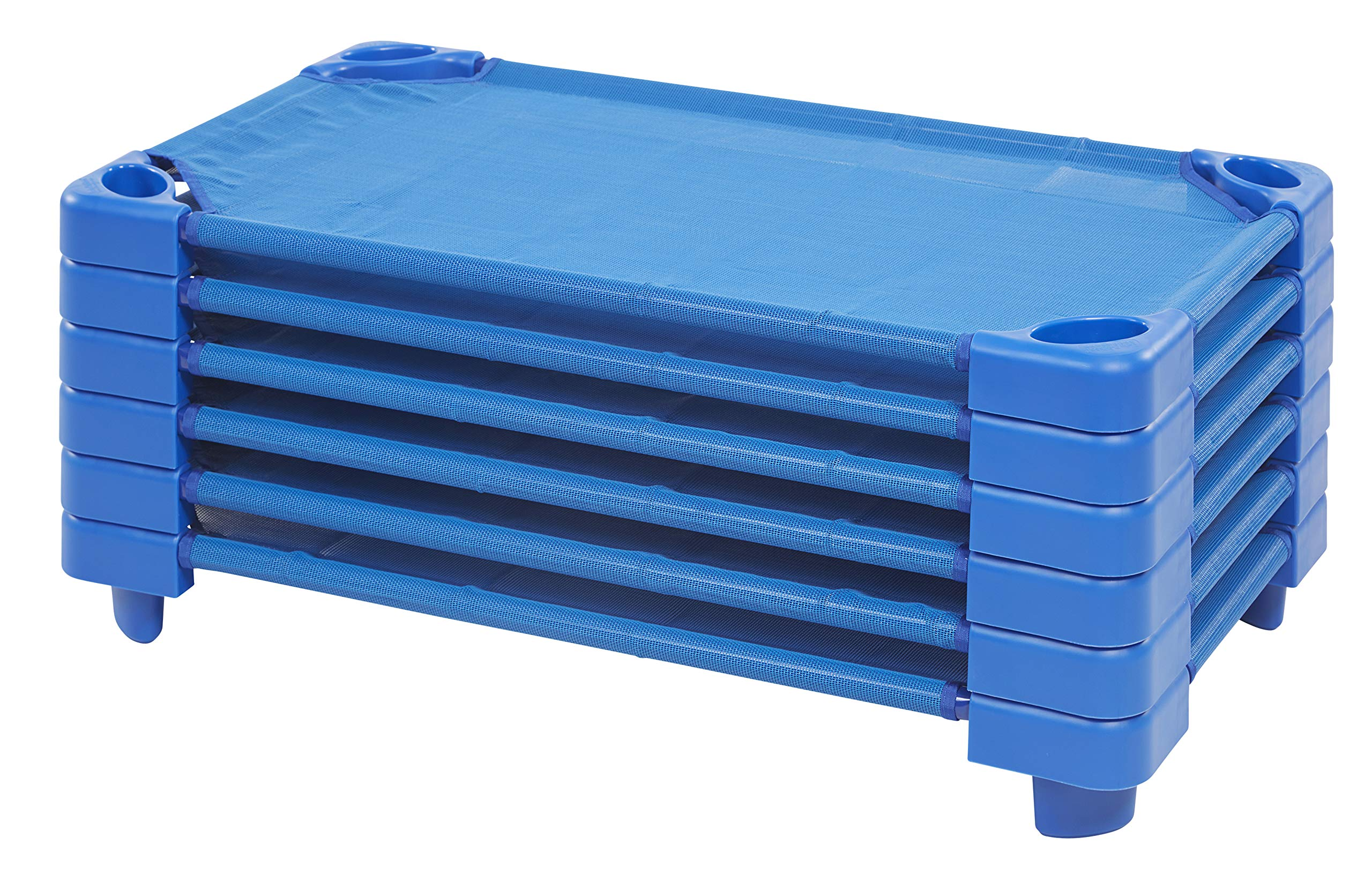 ECR4Kids Toddler Naptime Cot, Stackable Daycare Sleeping Cot for Kids, 40'' L x 23'' W, Ready-to-Assemble, Blue (Set of 6) by ECR4Kids
