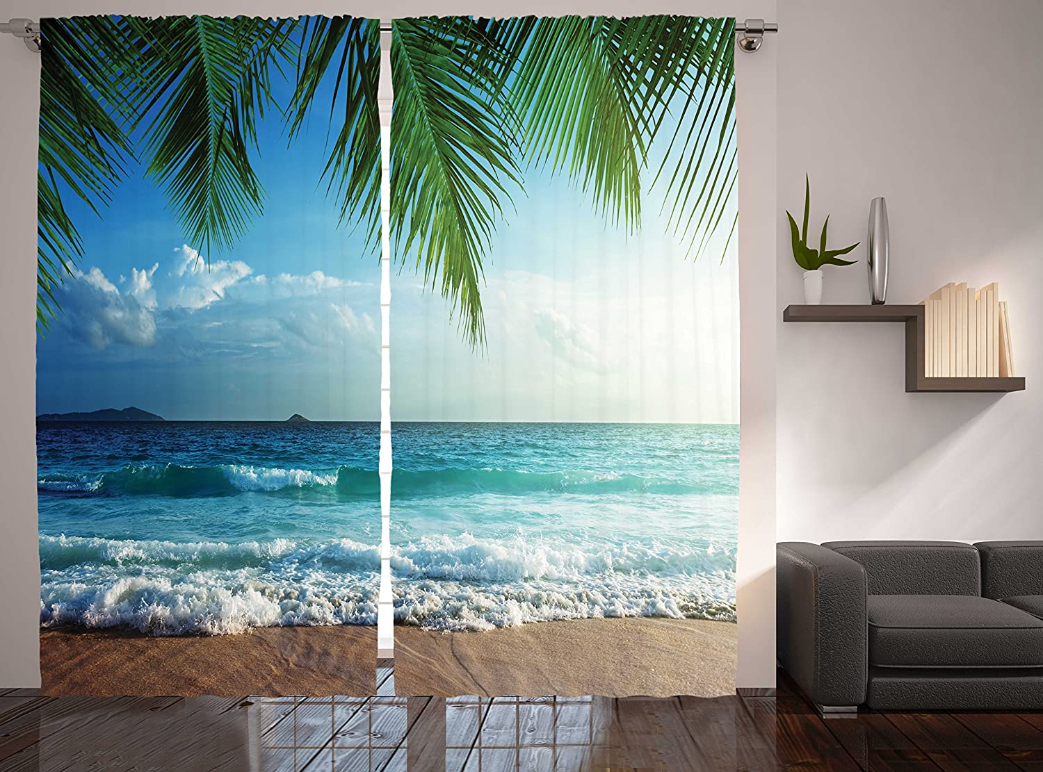 Ambesonne Curtains for Living Room Bedroom, Nautical Maritime Palms Trees Ocean Decorations for Work Tropical Island Beach Seashore Water Waves 2 Panel Window Coverings Drapes, Blue Green Turquoise