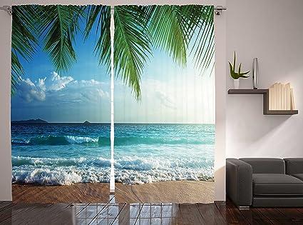 Ambesonne Ocean Curtains 2 Panel Set By Palms Trees Tropical Island Beach Seashore Water Waves