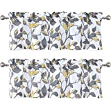 DriftAway Ryan Sketch Flower Floral Branch Leaves Lined Thermal Insulated Window Curtain Valance Rod Pocket 52 Inch by…