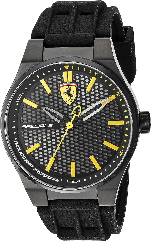 Scuderia Ferrari Men's Stainless Steel Quartz Watch with Silicone Strap, Black, 0.63 (Model: 830354)