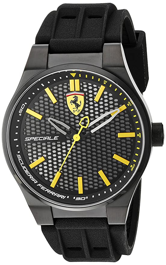 Amazon.com: Scuderia Ferrari Mens Stainless Steel Quartz Watch with Silicone Strap, Black, 0.63 (Model: 830354: Watches