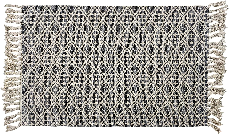 USTIDE 2ftx3ft Tassel Door Mat Cotton Floor Mat Hand Woven Carpet Chic Printed Bedside Rugs for Living Room Bathroom Enterway