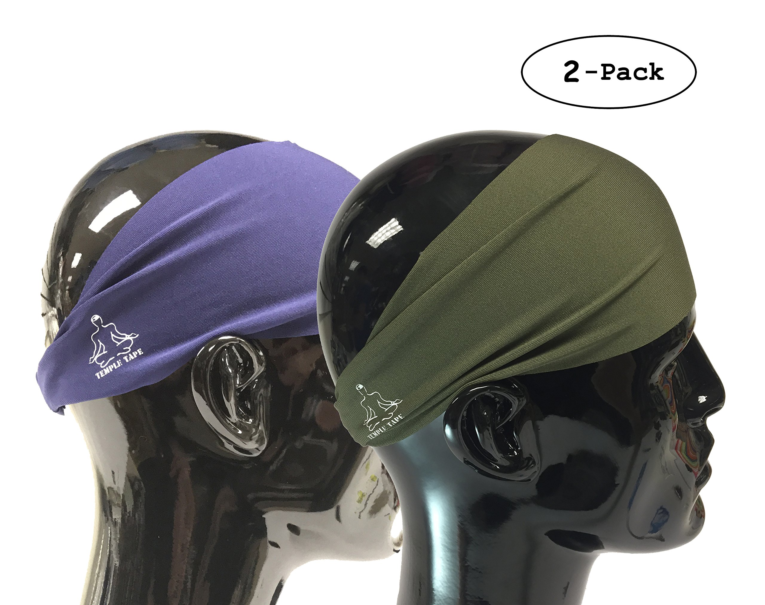 Value 2-Pack, Mens Headband - Guys Sweatband & Sports Headbands Moisture Wicking Workout Sweatbands for Running, Cross-Train, Skiing and bike helmet friendly - Value Pack 1-OD Green & 1-Navy Sweatband