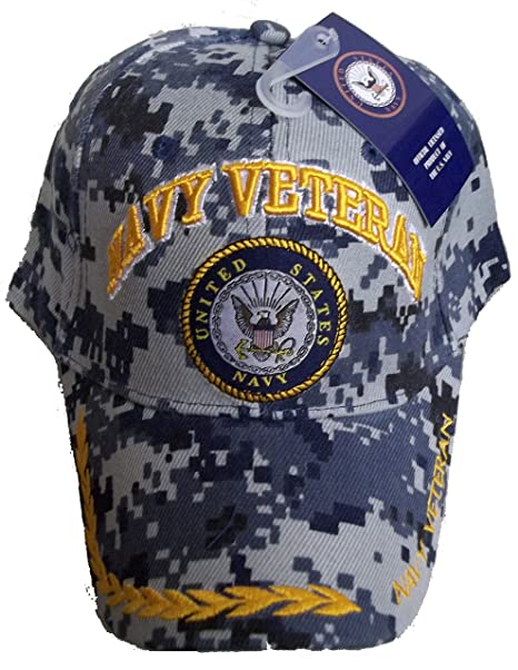 USA NAVY VETERAN BASEBALL STYLE EMBROIDERED HAT blue camo cap vet us ... 825dfc9a951