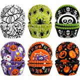 600 Pieces Halloween Cupcake Liners Spider Net Pumpkin Skull Bat Boo Baking Cups Cupcake Wrappers Wraps Muffin Case Trays for