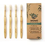 WowE Natural Bamboo Toothbrush Individually Numbered, BPA Free Bristles, Pack of 4