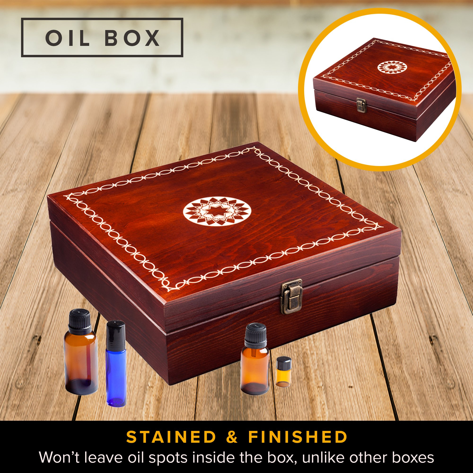 Beautiful Essential Oil Storage Box Organizer - Holds 36 Bottles 5-10-15-30ML & 1oz Or 72 Roller Bottles - Free Roller Bottle Opener & 192 EO Labels - Wooden Oil Case Holder by MP (Image #5)