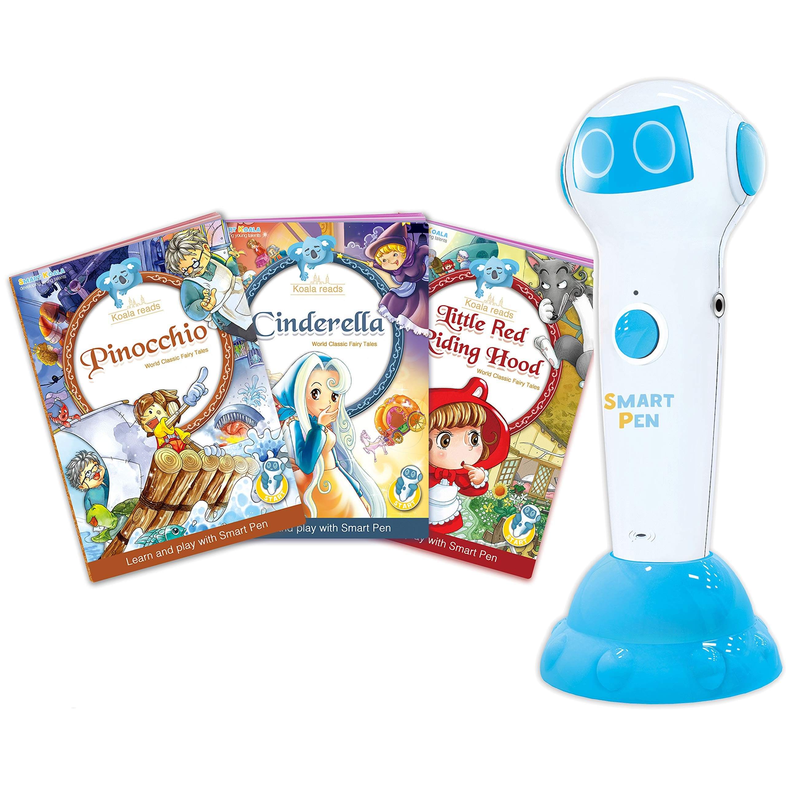 Talking Pen + 3 Fairy Tales Bundle (Pinocchio, Cinderella, Red Hood). The most Entertaining Books for learning Reading and Spelling Skills. English and foreign Languages (Spanish, German for free)