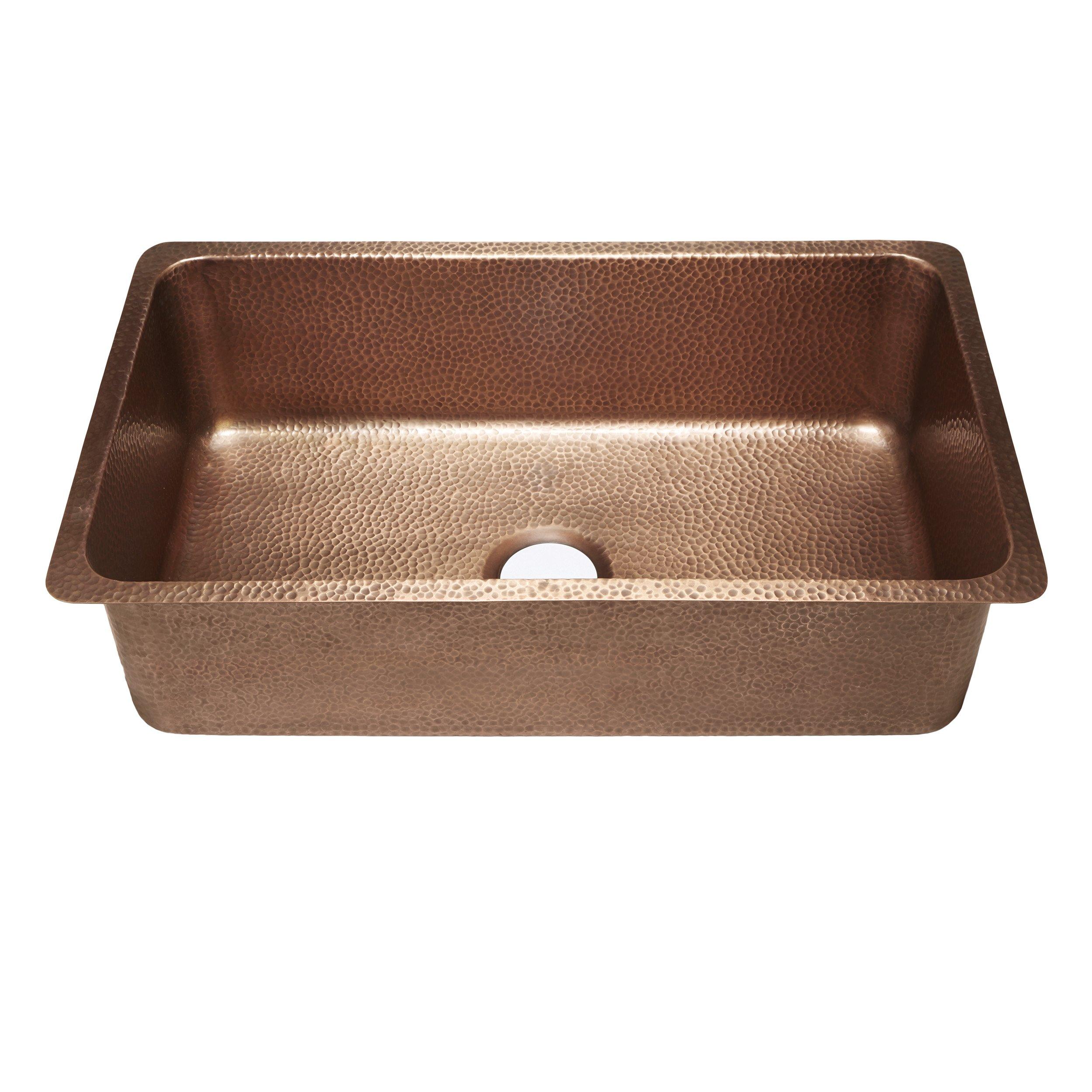 Sinkology SK203-31AC David Undermount Handmade Copper Sink 31-1/4'' Luxury Single Bowl Kitchen Sink, Antique Copper