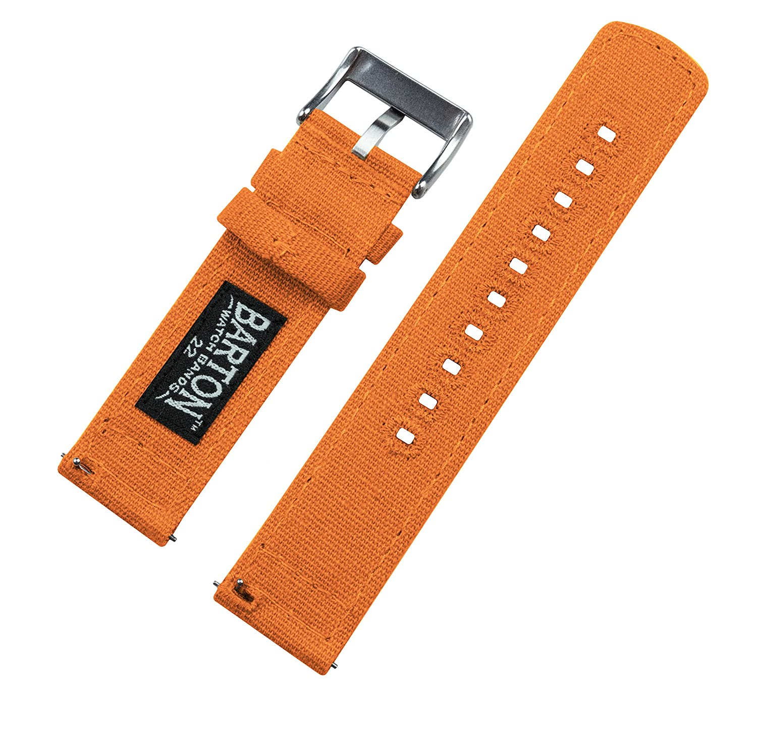 Barton Canvas Quick Release Straps - Choose Color & Width - 18mm, 20mm, 22mm - Pumpkin 18mm | Amazon.com