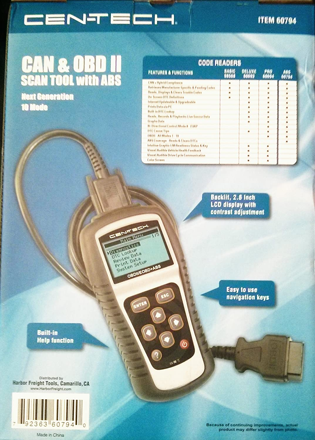 Cen Tech Can Obd Ii Scan Tool With Abs Item60794 Centech Wiring Harness Diagram Automotive