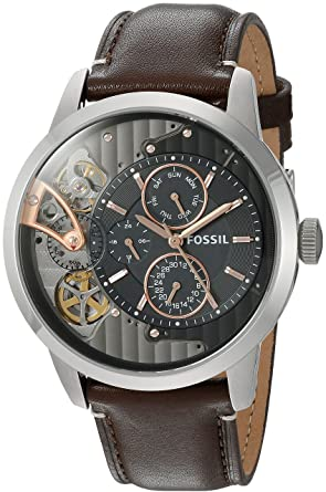 566b5aac71 Image Unavailable. Image not available for. Color  Fossil Mens ME1163  Townsman Twist Multifunction Dark Brown Leather Watch