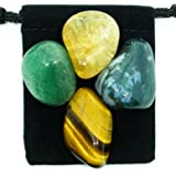 ABUNDANCE & PROSPERITY Tumbled Crystal Healing Set with Pouch & Description Card - Aventurine, Citrine, Moss Agate, and Tiger's Eye