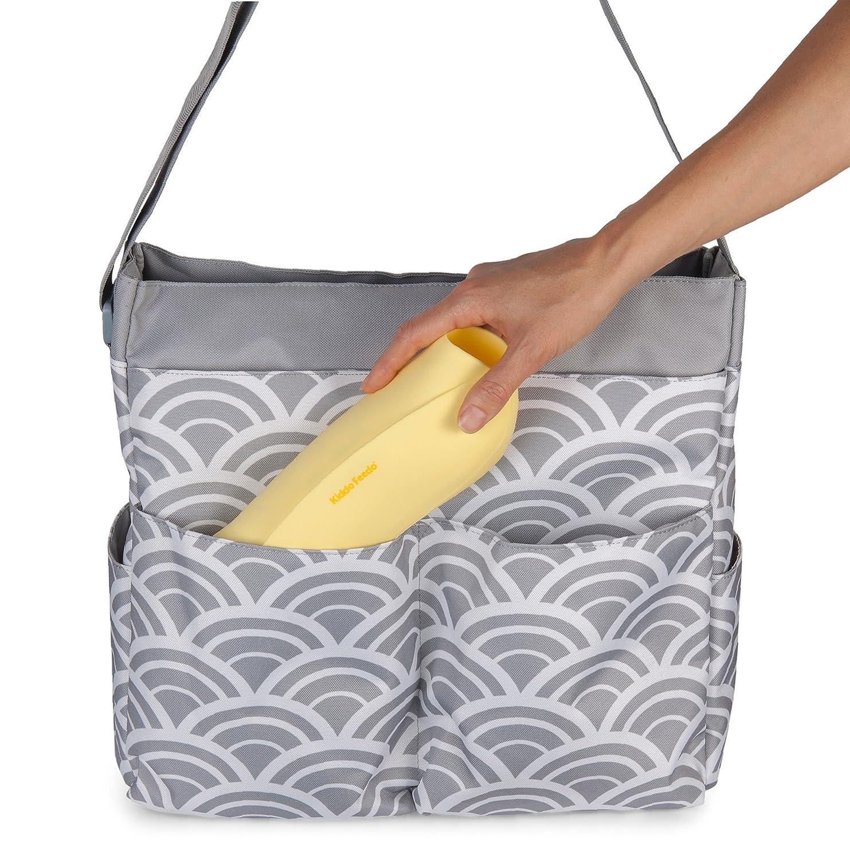 verschiedene Designs zur Auswahl KIDDO FEEDO wasserdichtes abwaschbares Silikon Babyl/ätzchen mit Roll Up und tiefer Auffangtasche verstell- und faltbar Gelb